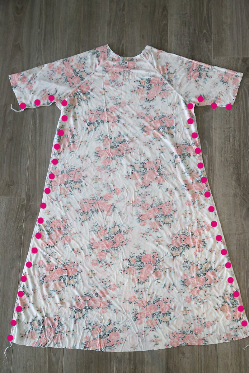 Swing dress turned inside out with side seams marked