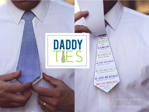 Man wearing a Father\'s Day tie made from paper