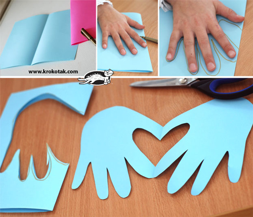 Father\'s Day card in the shape of handprints forming a heart