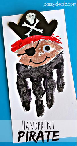 Handprint pirate Father\'s Day card