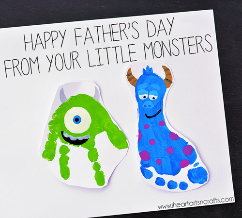 Handprint and footprint making Mike and Sully monsters on a Father\'s Day card