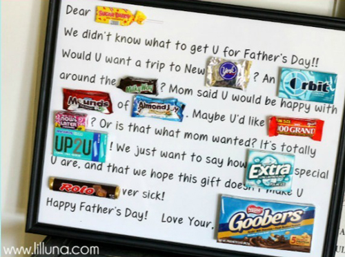 Candy bar poster for Father\'s Day