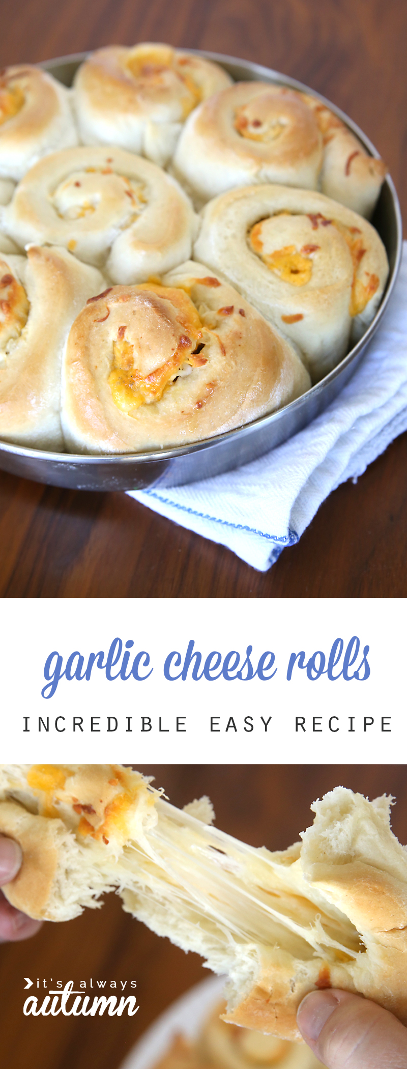 garlic cheese rolls in a round pan; hands pulling apart a garlic cheese roll