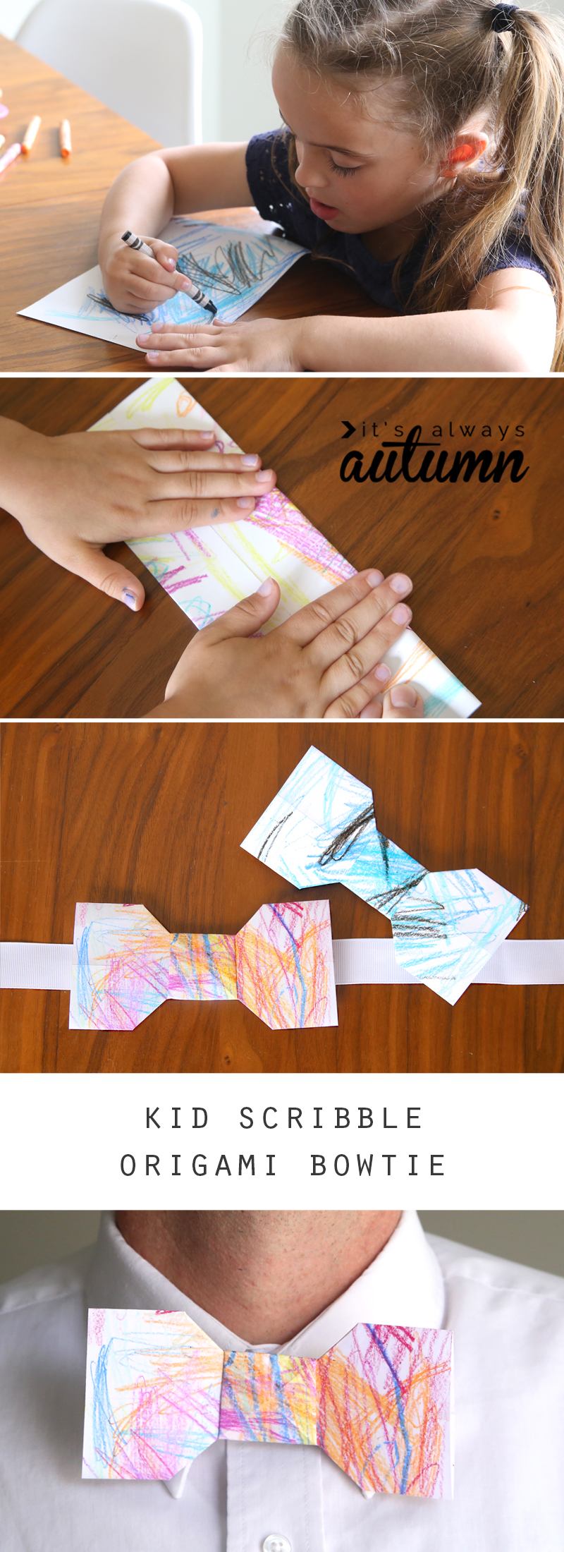 girl coloring on paper, hands folding paper, origami bowtie