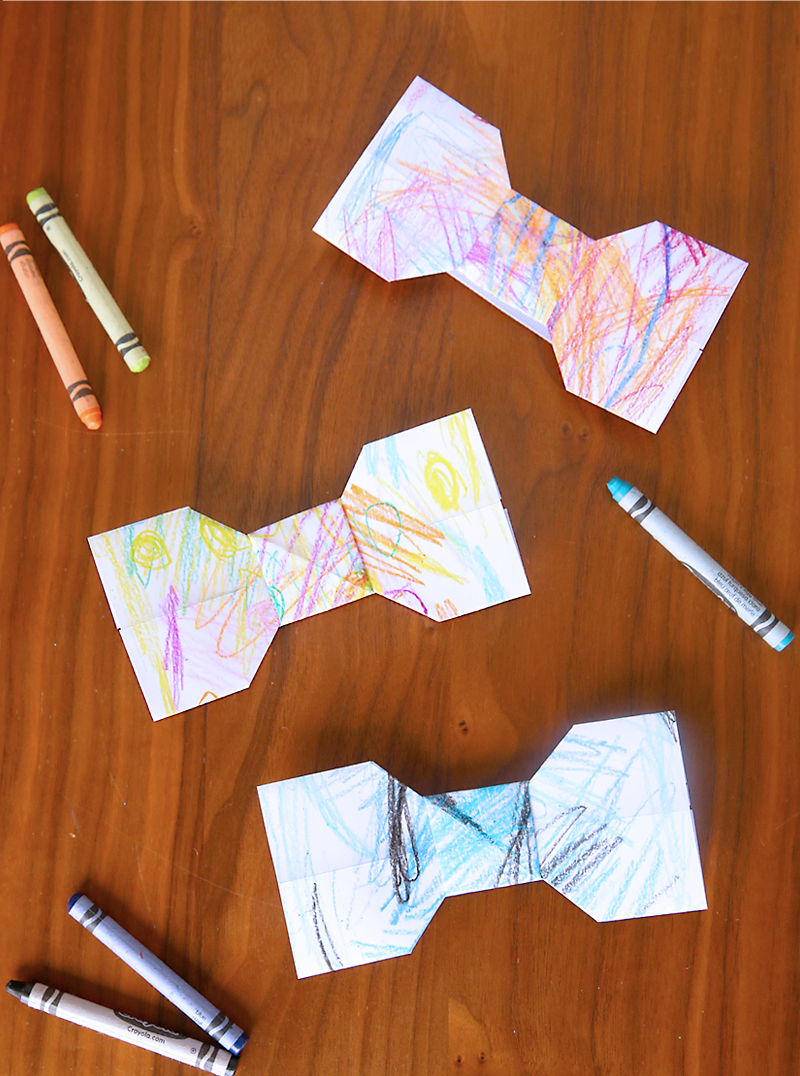 origami bowties and crayons