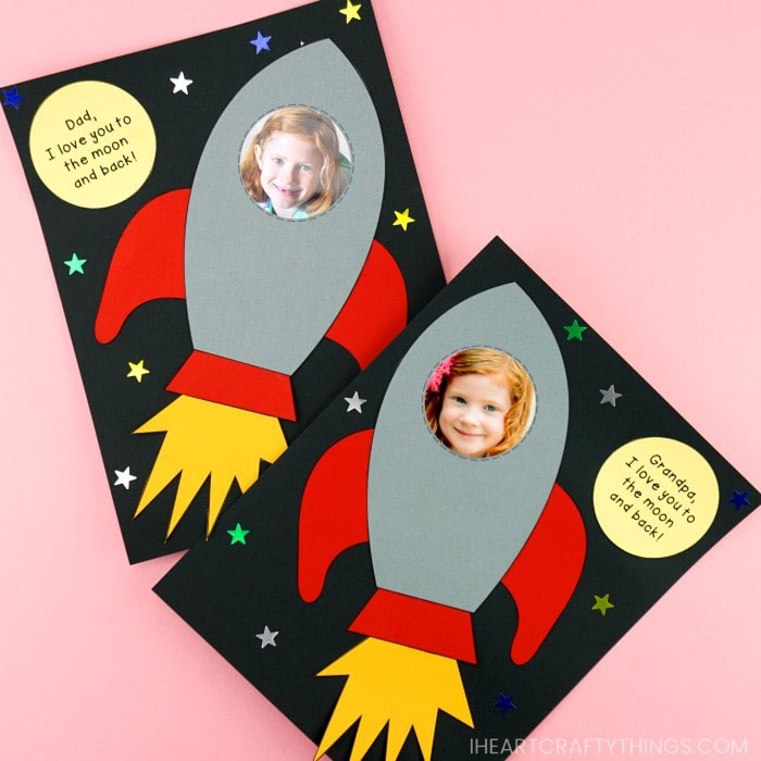 Rocket photo card for dad - Fathers Day card ideas kids can make
