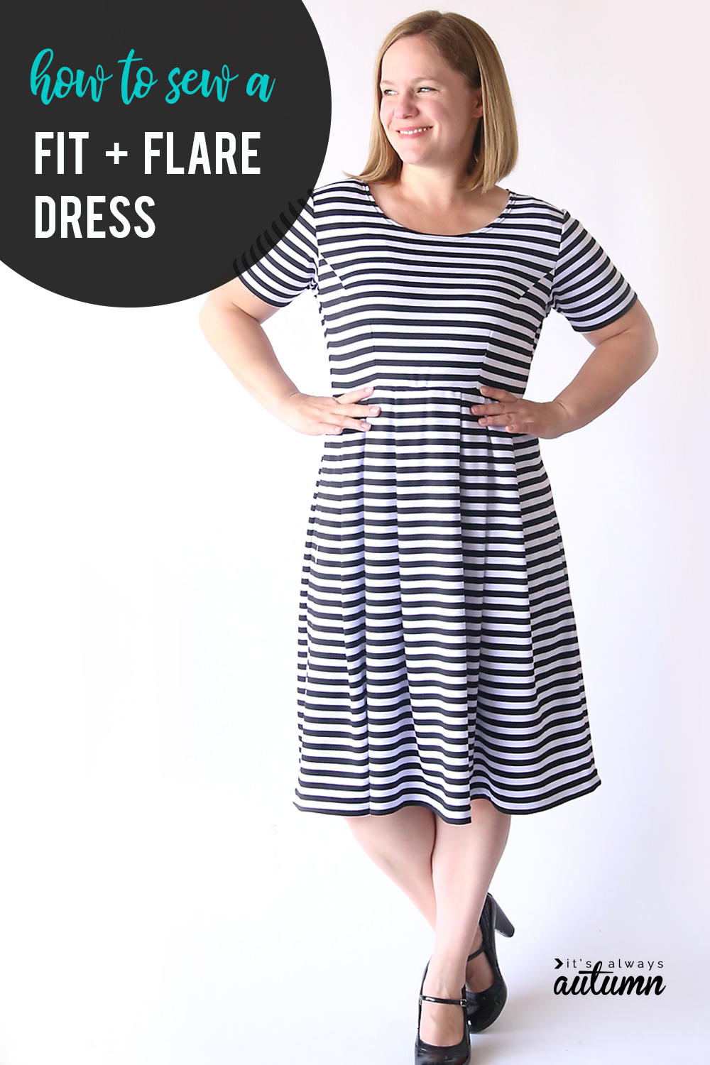 How to sew the perfect flattering fit + flare dress! Learn how to create a pattern in your size for this cute dress. Sewing tutorial.