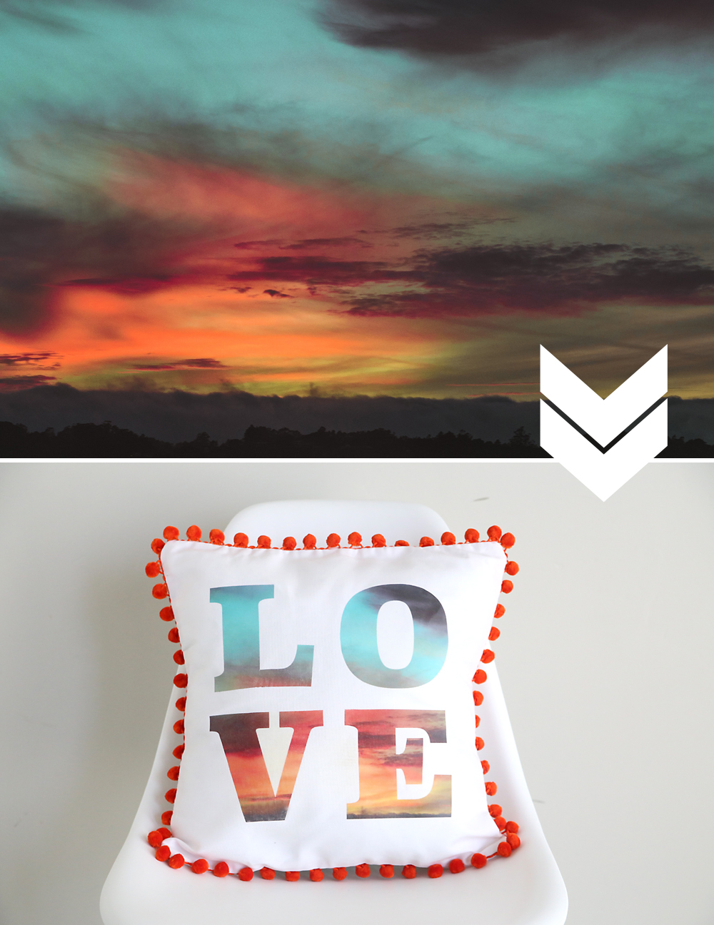 photo of a sunset; photo placed into the letters on the throw pillow