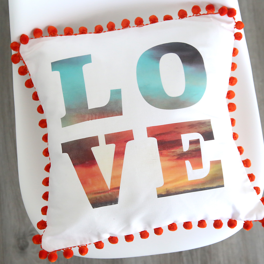 DIY photo & text throw pillow