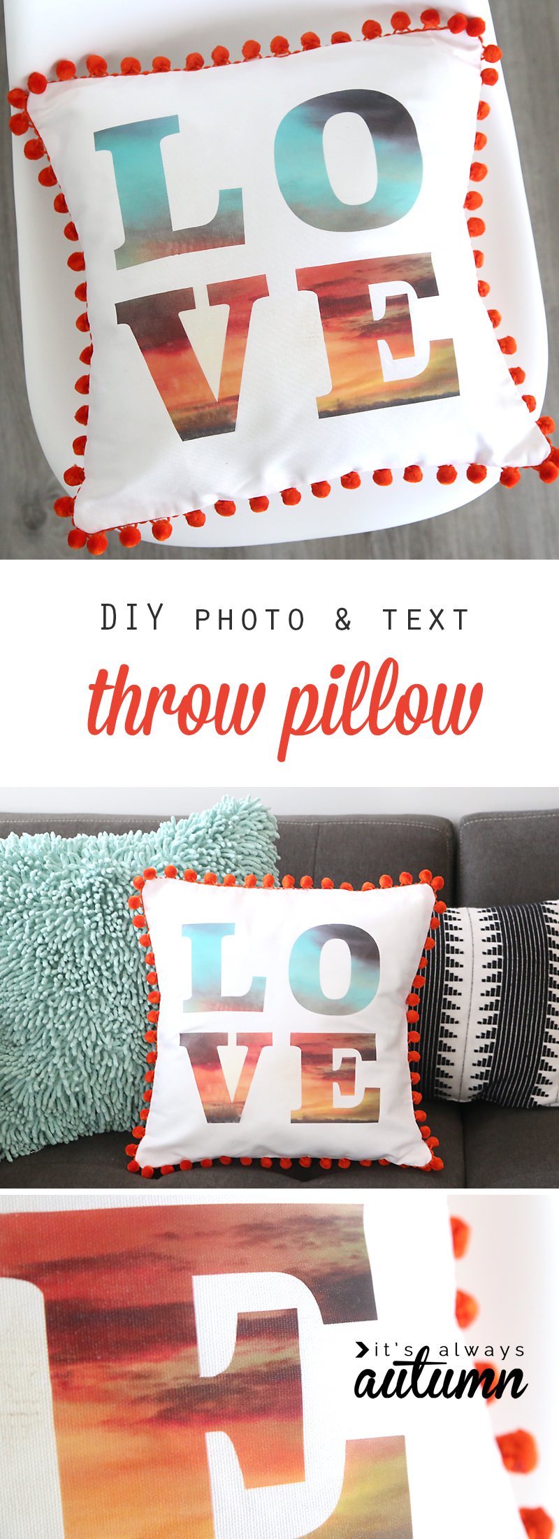 Throw pillow with word LOVE on it and red pom pom trim around the edge