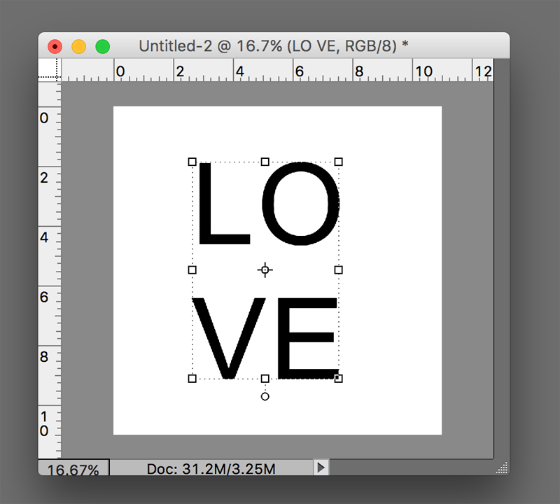 Letter L O V E typed in two lines