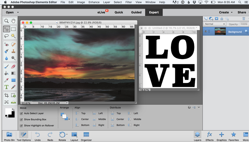 Sunset photo and word LOVE both opened in Photoshop Elements