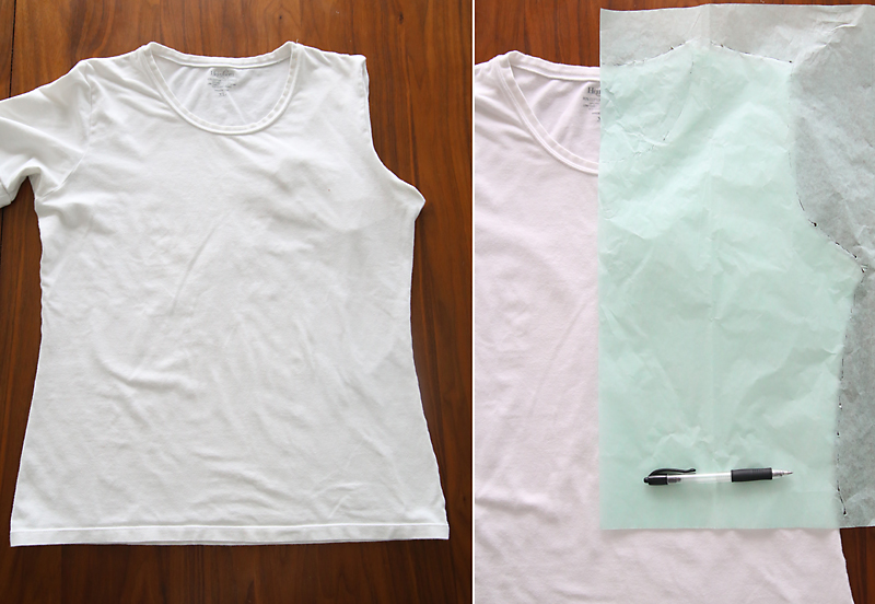 Tracing around a t-shirt to create a pattern