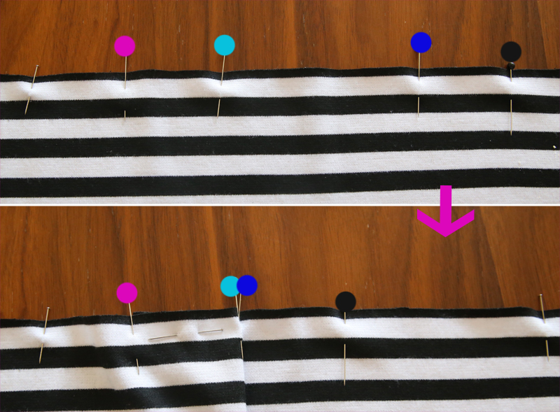 pins marking pleats in the top edge of the skirt
