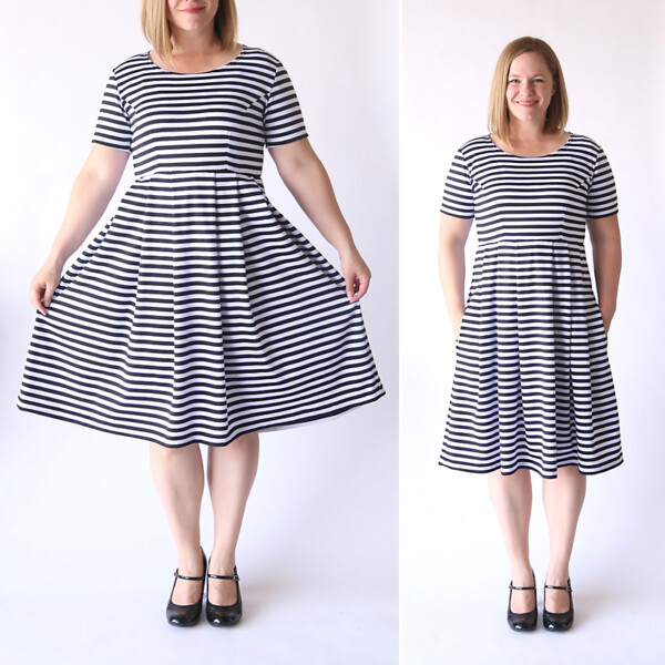 A woman wearing a black and white striped fit and flare dress