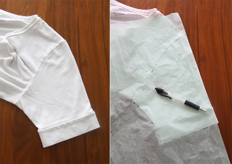 Tracing around a sleeve to create a pattern