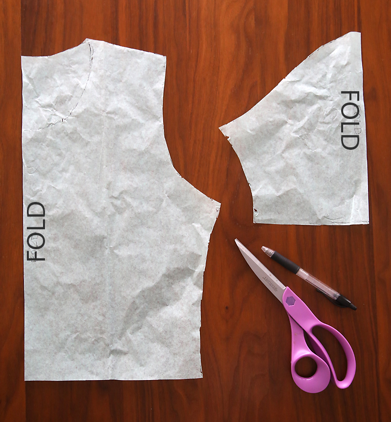 Bodice pattern and sleeve pattern, with scissors