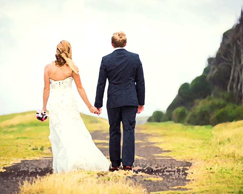 A painting of a bride and groom walking away