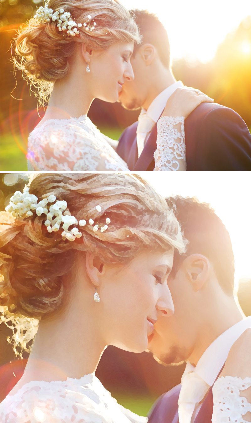 Bride and groom embracing in a photo; then in painting