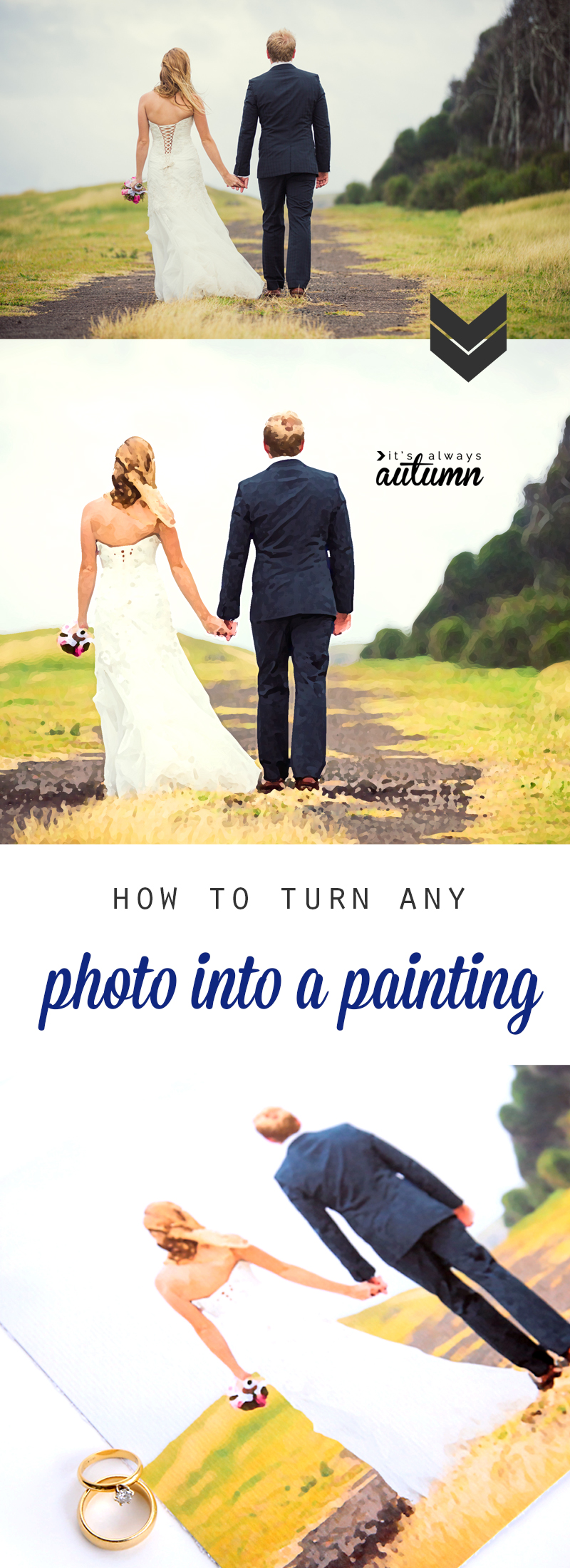 A photo man and a woman walking in the grass turned into a painting