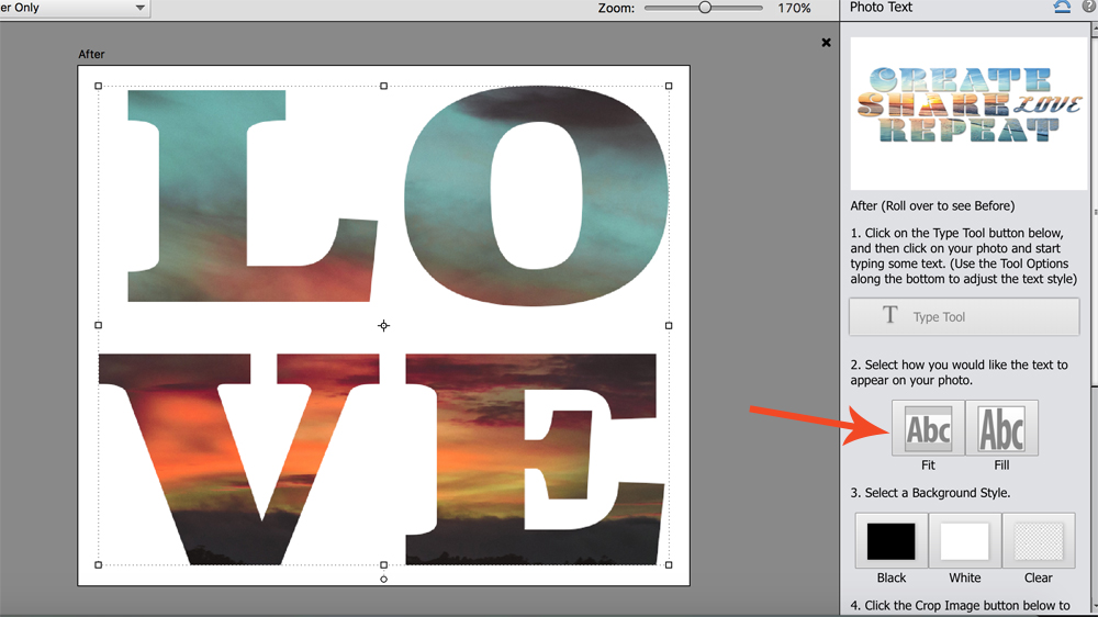 Letters of word LOVE filled with sunset photo