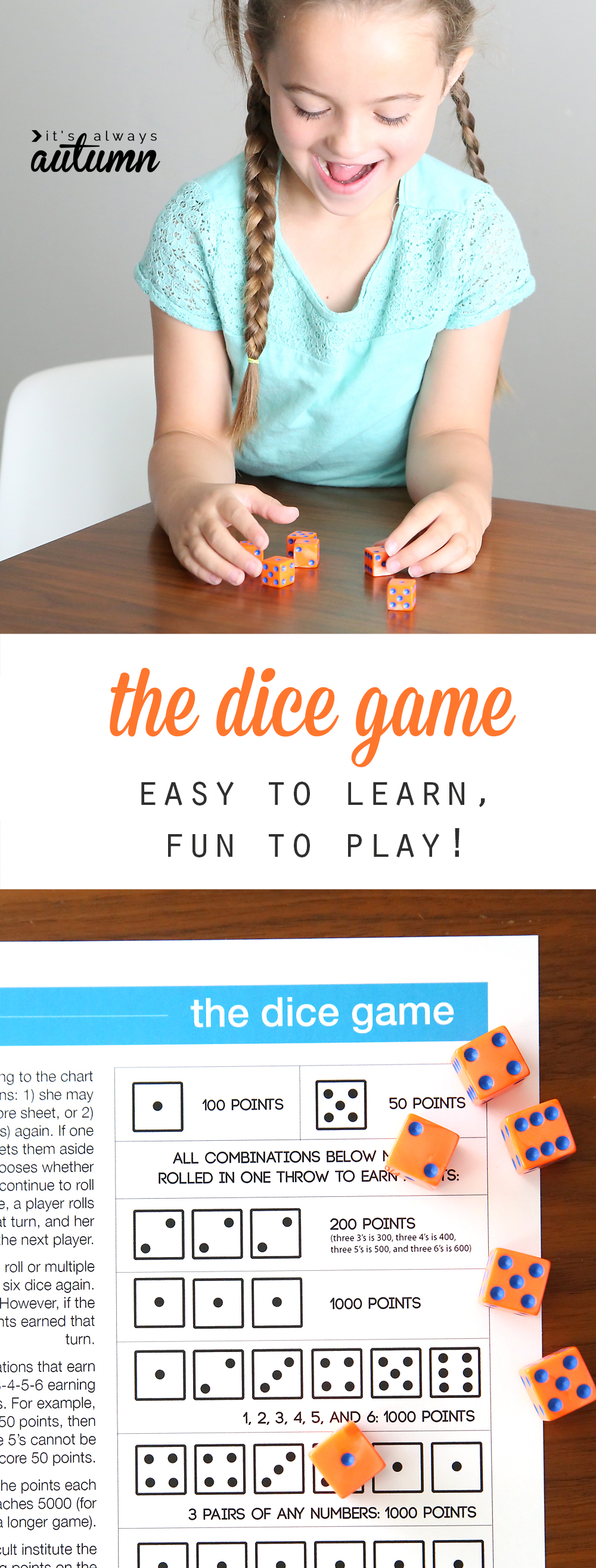 The dice game is fun and easy to play for kids and adults. It's a great way to keep the kids busy over the summer. Free printable and video instructions.