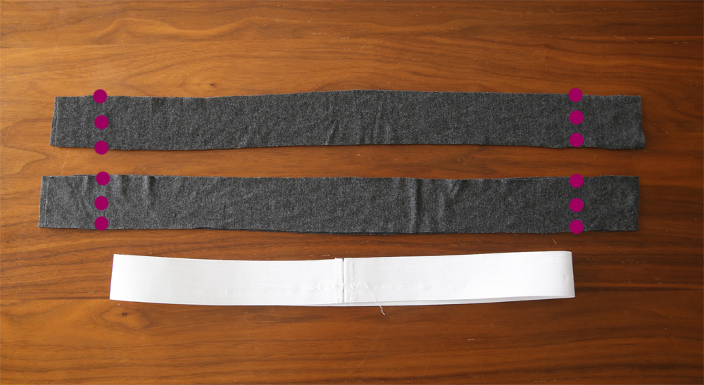 Long strips of fabric for waistband and elastic waistband