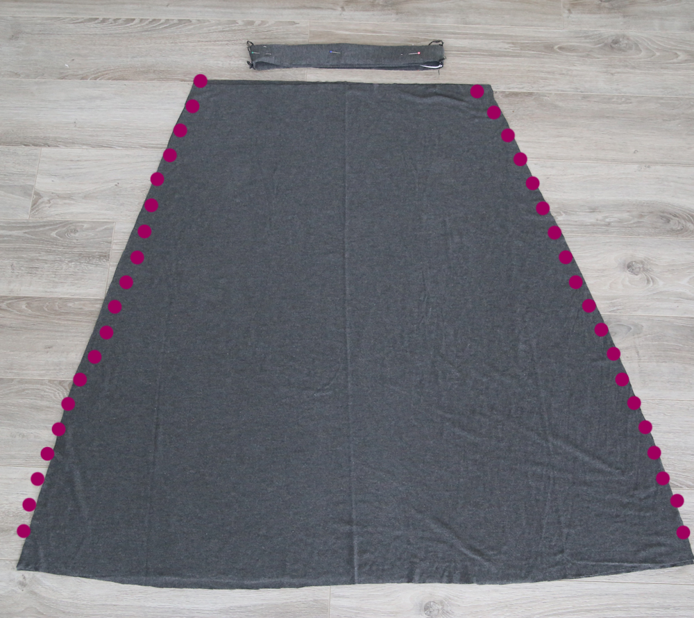 Skirt with side seams marked