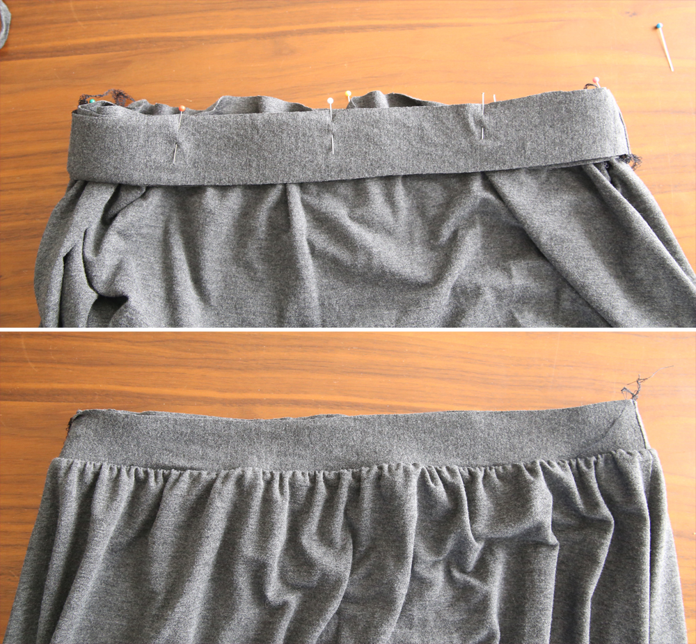 Skirt gathered to fit inside of waistband; waistband sewn to skirt