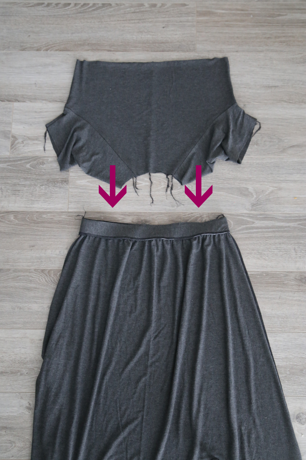 Bodice piece with arrows showing it goes inside skirt piece