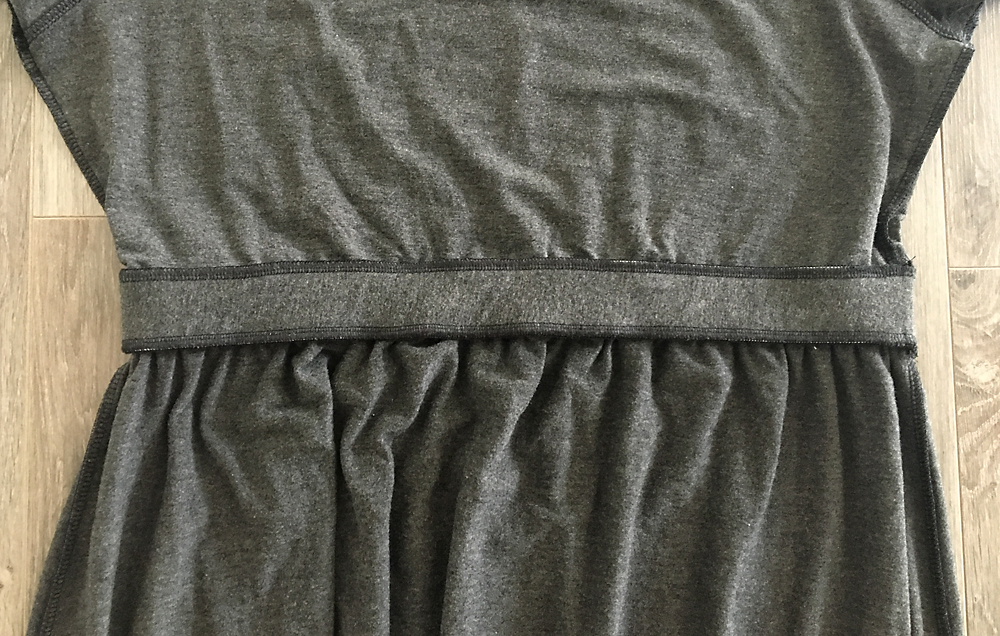 Inside of waistband showing it is now sewn to both the bodice and the skirt
