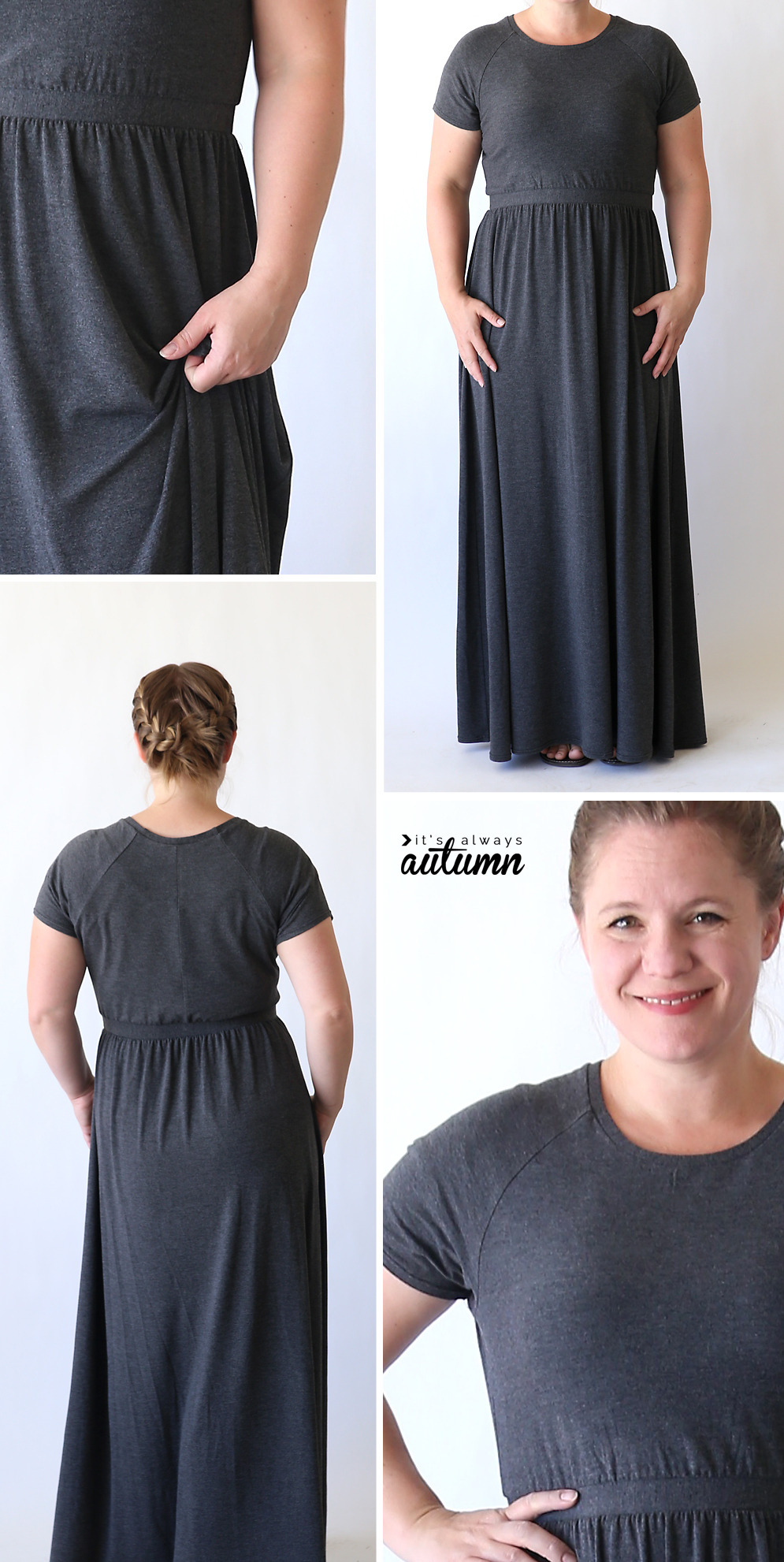 Woman wearing long grey maxi dress made from a sewing tutorial
