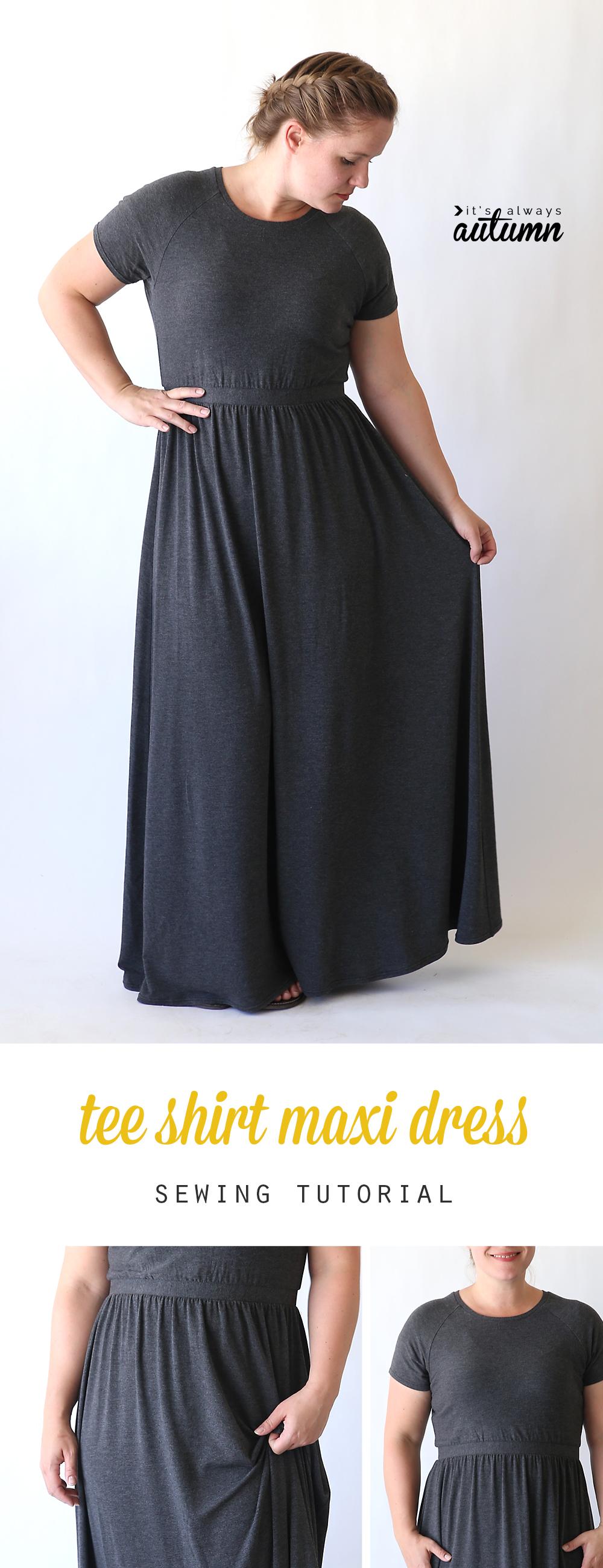 Woman wearing t-shirt maxi dress