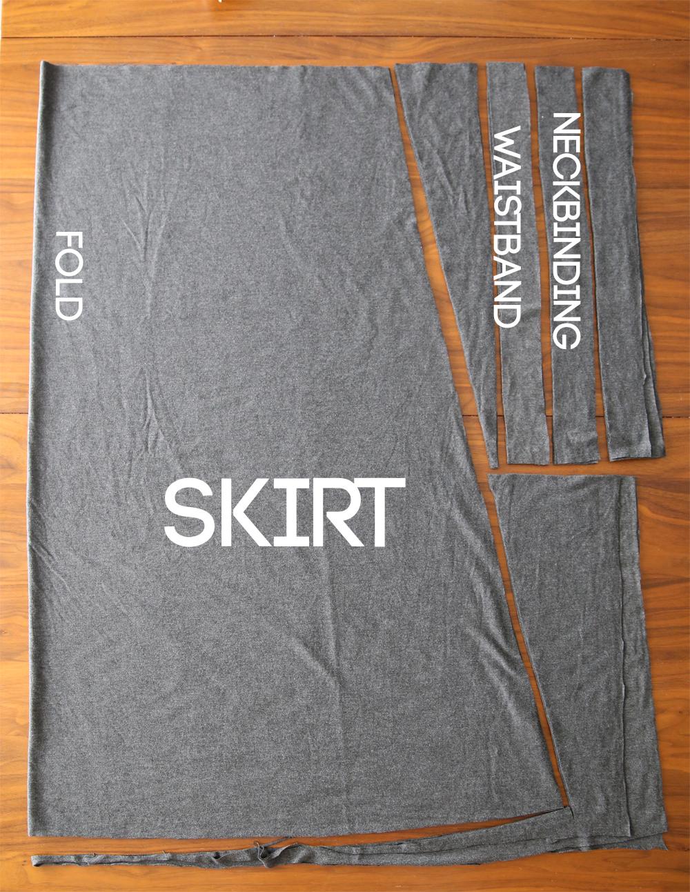 Pattern pieces: skirt piece, waistband, and neckbinding strips