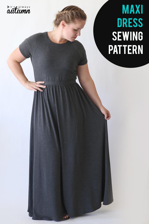 Learn how to make this cute maxi dress using a free t-shirt pattern. Raglan sleeve maxi dress sewing tutorial.