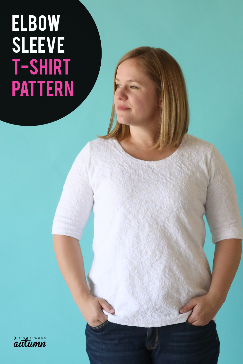 Learn how to sew a classic t-shirt with flattering elbow length sleeves with this sewing pattern and tutorial.
