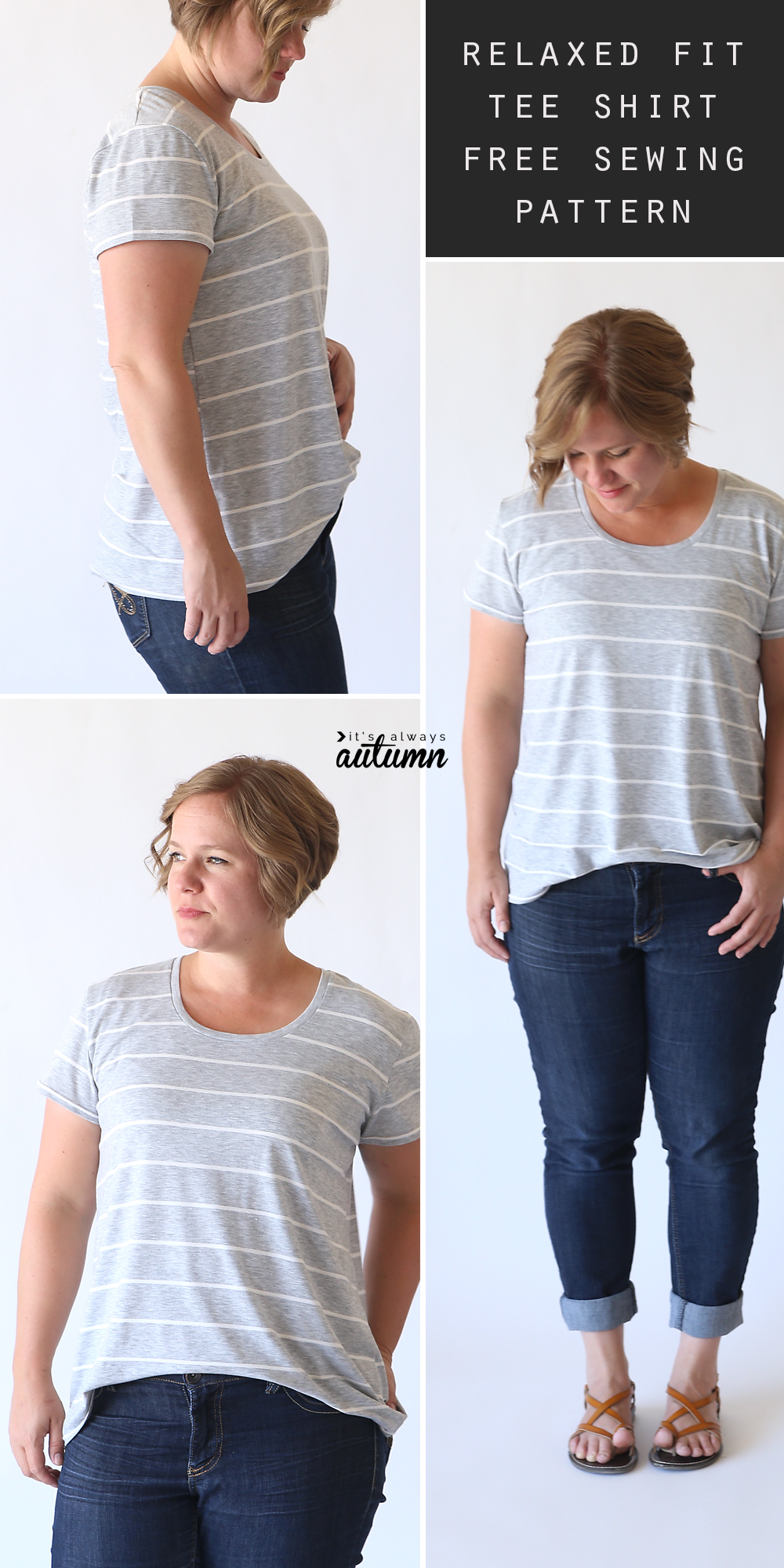 A woman wearing a relaxed fit t-shirt made from a sewing pattern