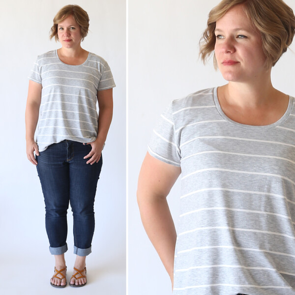 A woman wearing a relaxed fit t-shirt made from a free pdf sewing pattern