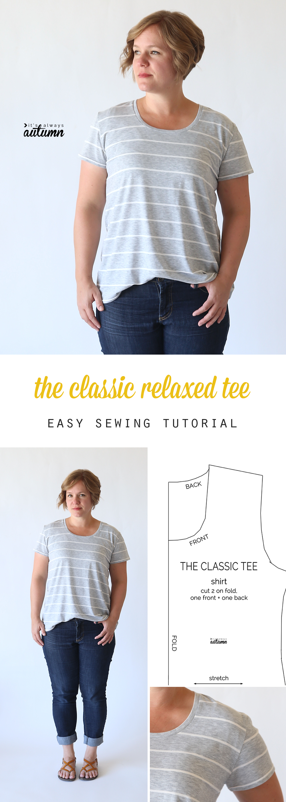 A woman wearing the classic tee in a relaxed fit; classic tee sewing pattern
