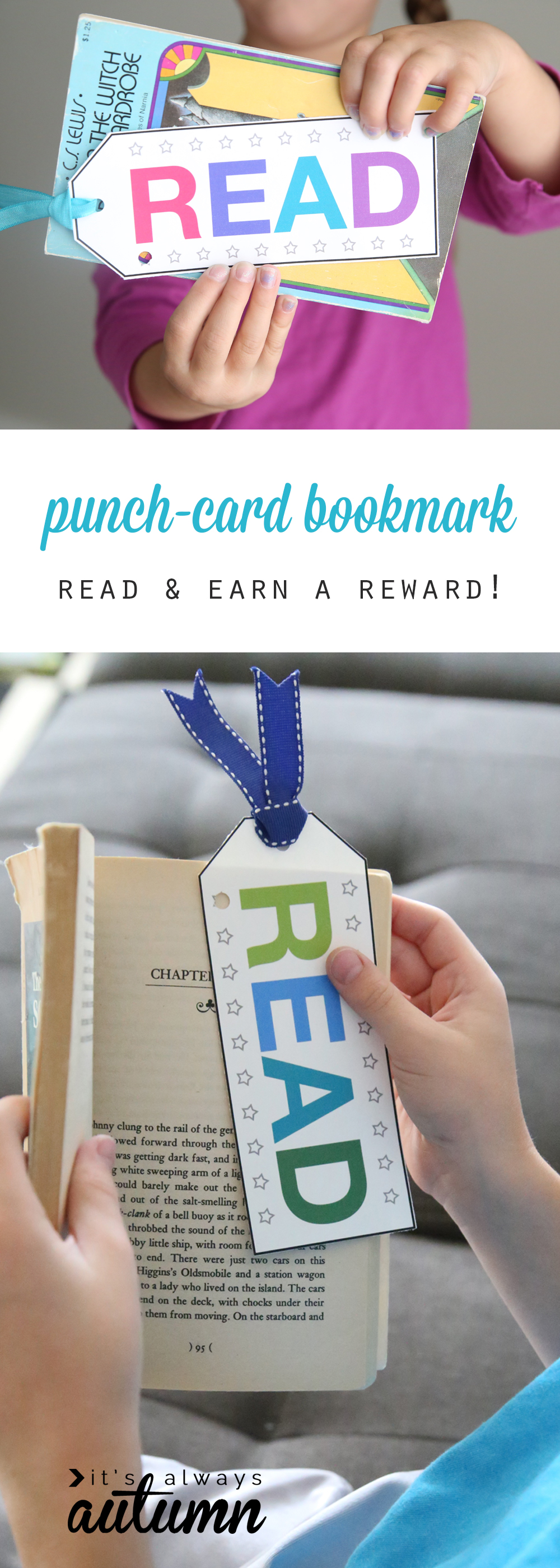 Kids holding books with punch card bookmarks