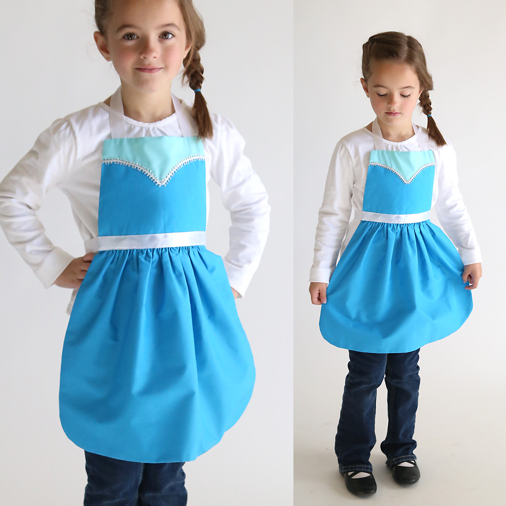 free sewing pattern for Elsa dress up apron