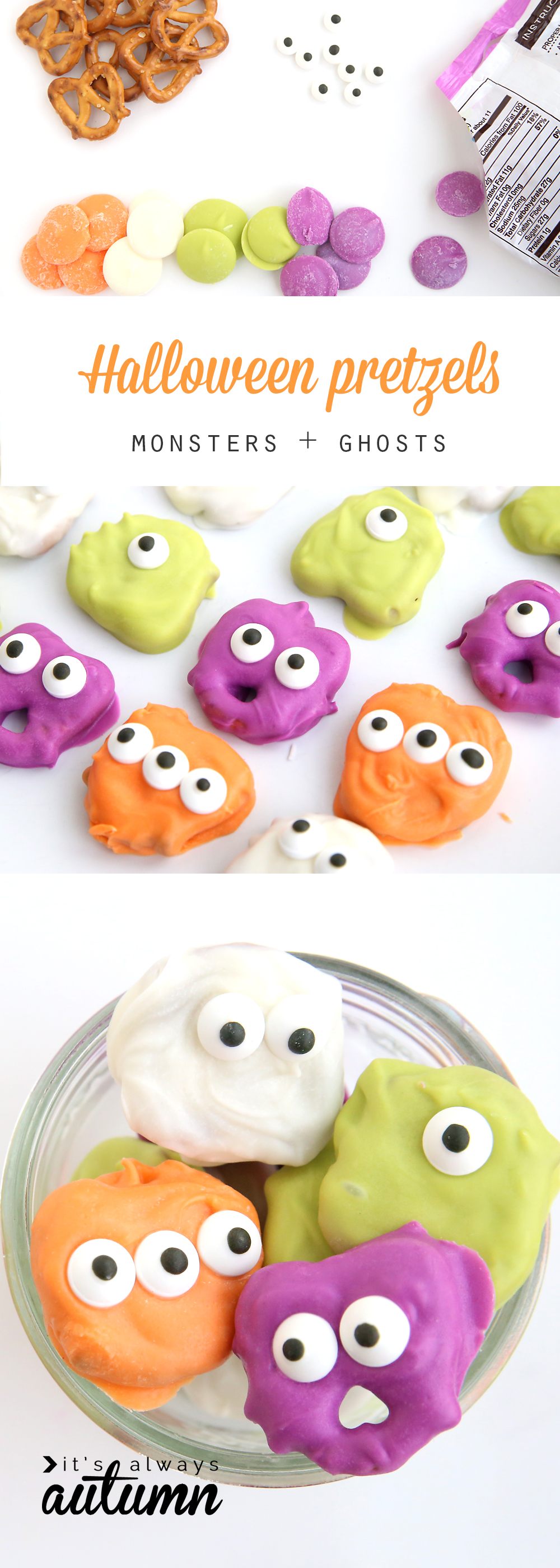 Pretzels dipped in candy and decorated to look like monsters and ghosts for Halloween