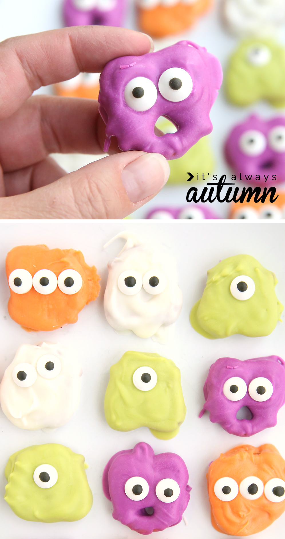 hand holding pretzel monster; green, orange, white, and purple covered pretzels with candy eyes