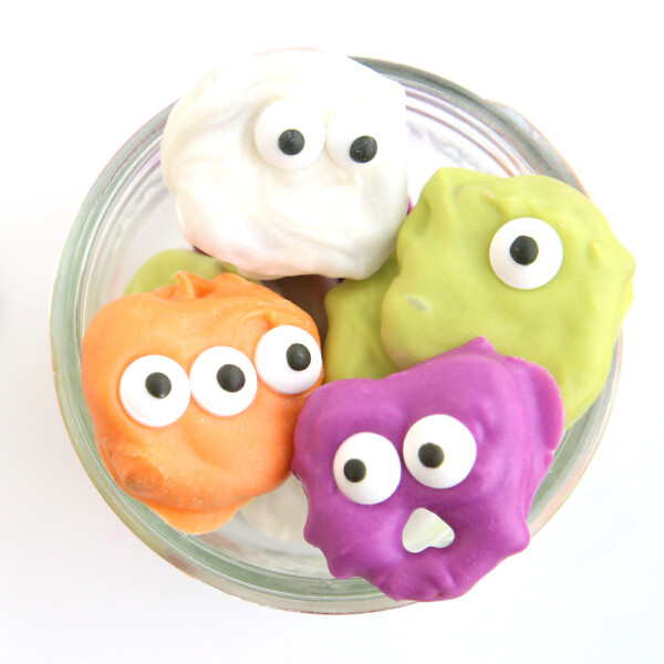 pretzel monsters and ghosts in a bowl