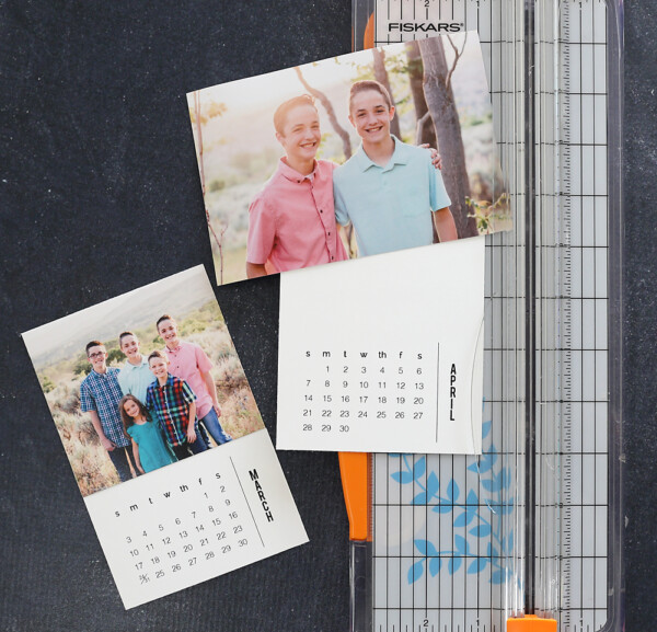 Photo and calendar print out with a paper trimmer