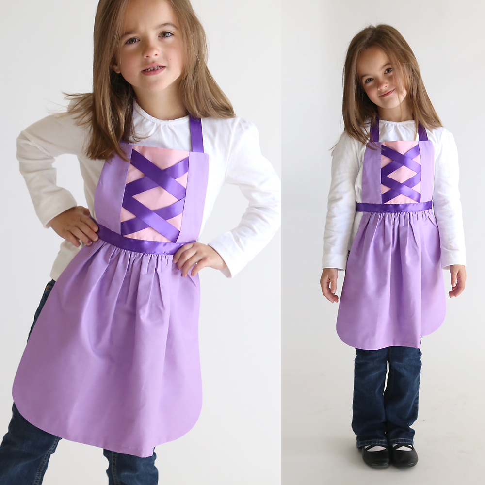 So adorable! Get the free PDF sewing pattern for this easy to make this Rapunzel (Tangled) princess dress up apron in sizes 2-8 to fit any little girl! Easy DIY Snow White costume or dress up. Great handmade Christmas gift idea. More princess dress up apron patterns on this site too!