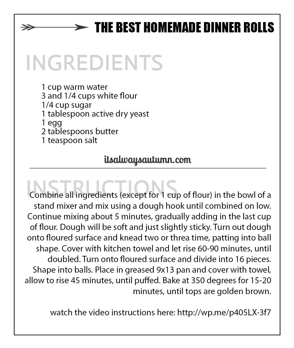 Dinner rolls recipe card