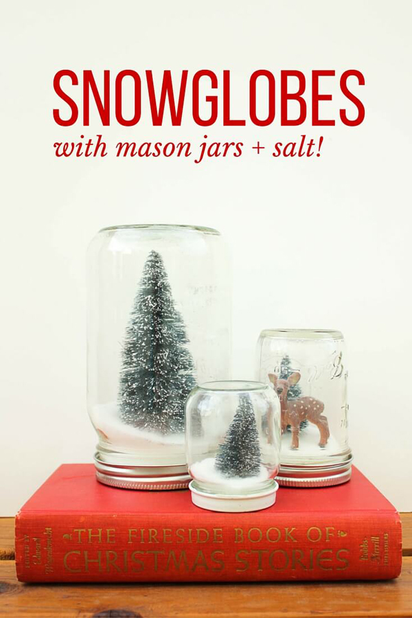 Snowglobes made from mason jars with Christmas trees inside