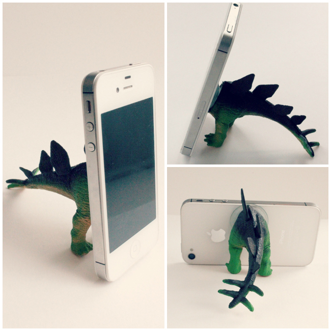 Cute homemade gift idea: toy dinosaur made into a phone stand
