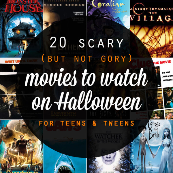 Collage of 20 scary (but not gory) movies to watch on Halloween for teens and tweens